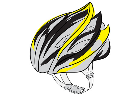 thong: Illustration with a color bicycle helmet with a thong Illustration