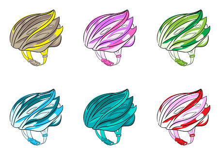 a thong: Illustration with a color bicycle helmets with a thong