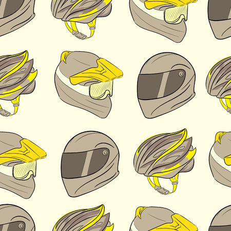 thong: Seamless texture with a color bicycle helmet with a thong