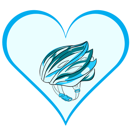 crash helmet: A bicycle helmet of blue color in a heart Illustration