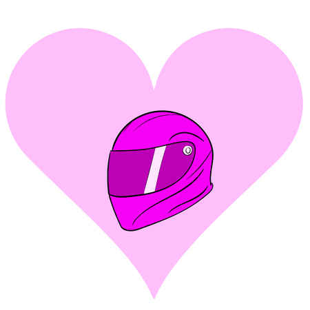 durability: A pink motorcycle helmet in a sign a heart