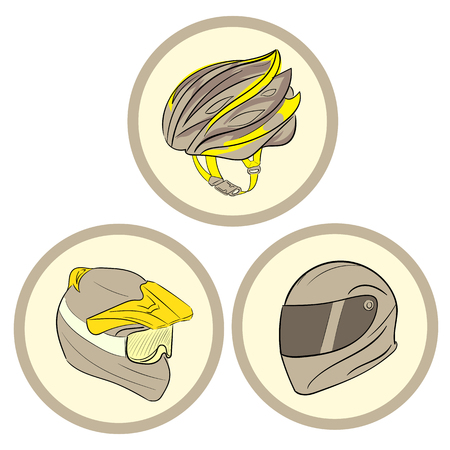 patch of light: Clipart with three helmets of safety in circles