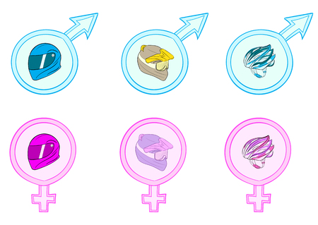 sexual: Set with various motorcycle helmets in sexual signs Illustration