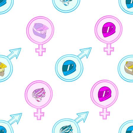 Naadloze textuur met motorhelmen in seksuele signalen