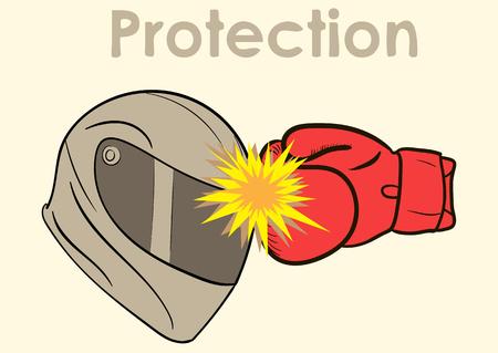 Conceptuele illustratie met een motorhelm en een bokshandschoen