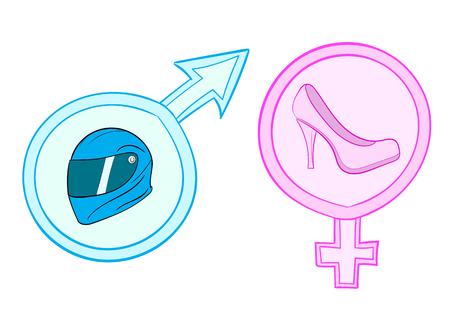 casco de moto: Ilustraci�n con un zapato de color rosa y un casco de motocicleta en los signos sexuales