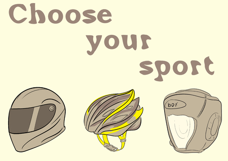 durability: Conceptual illustration with a choice of sports helmets