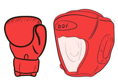 attributes: Illustration with red boxing attributes a glove and a helmet