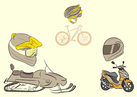 crash helmet: Conceptual illustration with transport and protective helmets