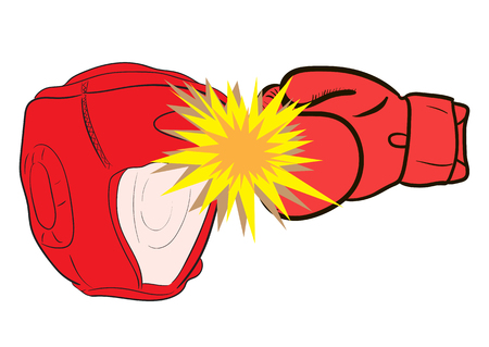 Boxing helmet and blow boxing red glove Illustration