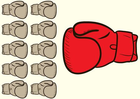 Big boxing glove against the majority of the small