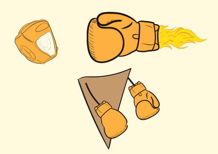 boxing glove: The boxing glove on fire knocks out the boxer
