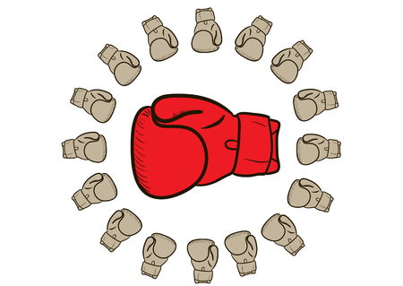 boxing glove: Big red boxing glove surrounded of the small