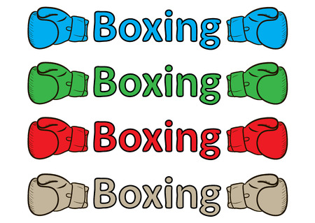 boxing glove: Inscription boxing of different flowers with a boxing glove Illustration