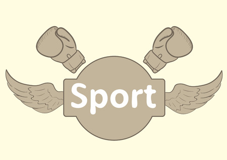winged: Illustration with a winged inscription sport and boxing gloves