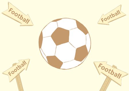 soccerball: Conceptual illustration with a soccerball and road signs