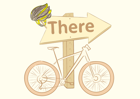 there: Conceptual illustration with bicycle about a road sign Illustration