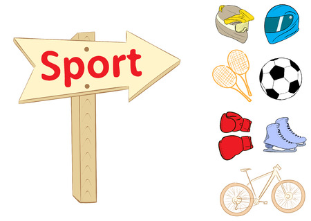 attributes: Illustration with a road sign on sports attributes