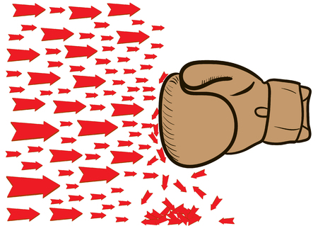 boxing glove: The brown boxing glove beats the red flying arrows Illustration