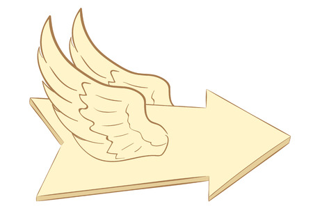 winged: Conceptual illustration with a brown winged arrow