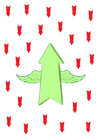 all purpose: The conceptual winged green arrow flies up against red Illustration