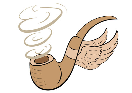 vintage cigar: Conceptual illustration with winged tubes for smoking Illustration