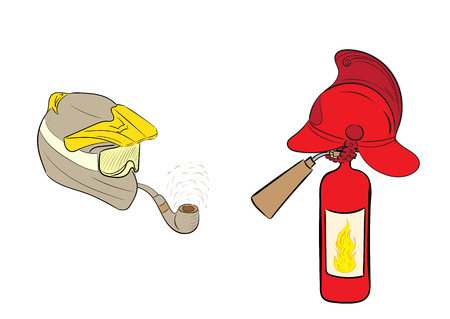 casco de moto: Motorcycle helmet with a tube and a fire helmet on the fire extinguisher