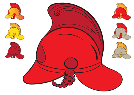 durability: Collection with red fire helmets of different flowers Illustration