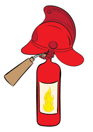 Konzeptionelle Darstellung mit dem Feuerlöscher in einem Feuerwehrhelm