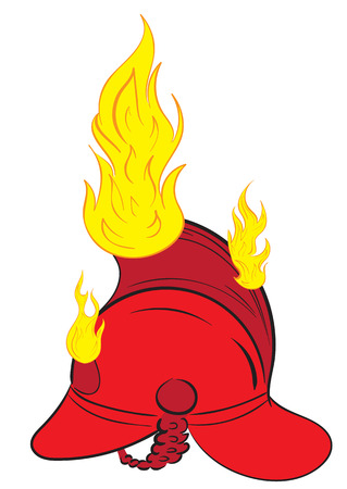 fire helmet: The burning red fire helmet with fire