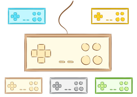 gamepads: Clipart with color old classical sketches of gamepads
