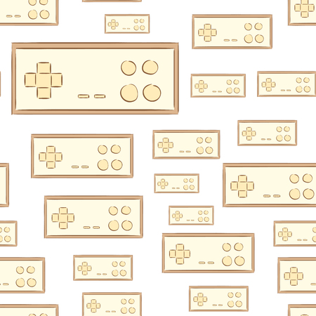 gamepads: Seamless texture with brown conSeamless texture with brown classical game gamepadstours of classical gamepads Illustration