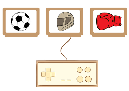 Conceptual illustration with the gamepad and cartridges with games