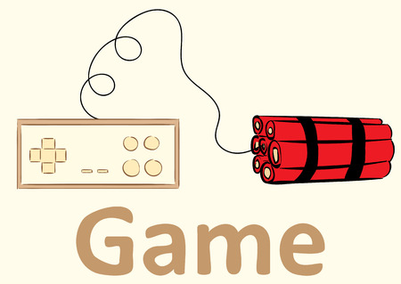 xbox: Conceptual illustration with the gamepad connected to dynamite