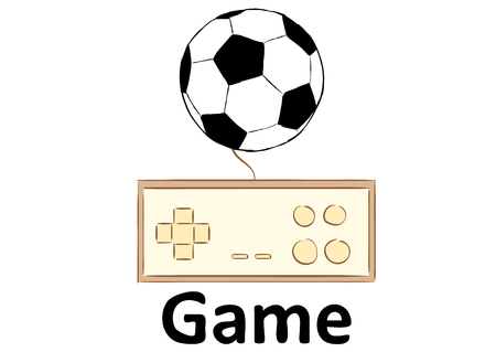 Conceptual illustration with the gamepad and a football ball Illustration
