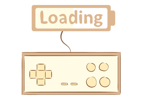 Conceptual illustration with the gamepad and the battery of loading
