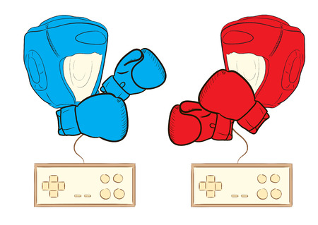 Conceptual illustration with gamepads and color boxers