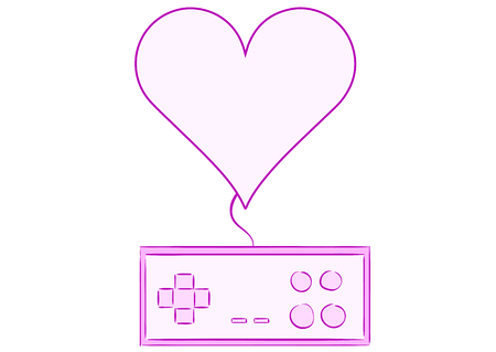 Conceptual illustration with the gamepad connected to a heart
