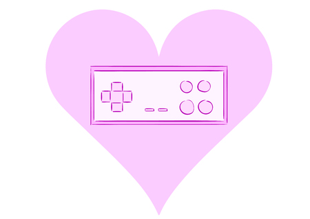 Conceptual illustration with the gamepad in a heart