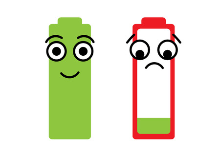 smily: Conceptual illustration happy smily and dissatisfied battery