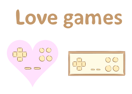 Heart in the form of the joystick and the gamepad