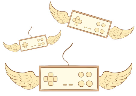gamepads: Conceptual illustration with winged brown gamepads joysticks