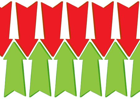 diversely: Green and red arrows diversely up and down Stock Photo