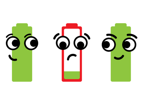 dissatisfied: The discharged dissatisfied red battery and full green