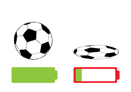 beefy: Serviceable soccerball and the full battery and the blown-off ball Illustration