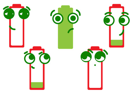 dissatisfied: The full green battery and the red dissatisfied discharged batteries Illustration