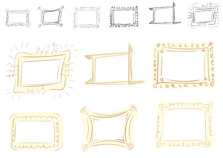 photoframe: Set with a curve vector photoframe of brown color