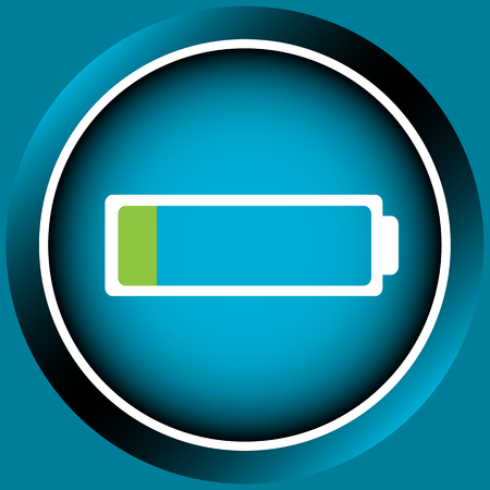 settled: Blue icon the button with the discharged empty battery