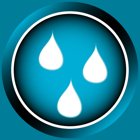 droplets: Icon the button of blue color with white droplets Illustration
