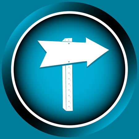 Icon the button of blue color with road signs arrows